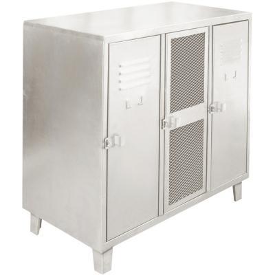 Bar lockers industrial 3 cuerpos 2 puertas  acero y 1 puerta malla