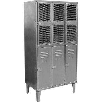 Estante lockers industrial 3 cuerpos 6 puertas malla  y acero  170x40 cm