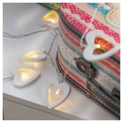Guirnalda batería corazón blanco 10 luces