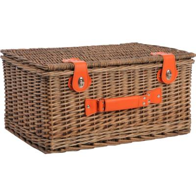 Canasto picnic 4 personas 51x35 cm naranjo