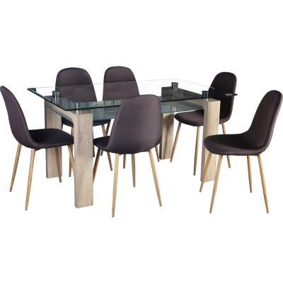 Juego de comedor 6 sillas 150x90 natural