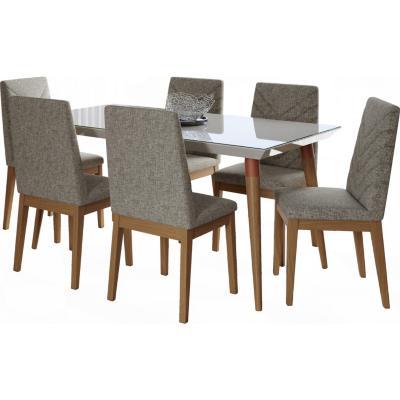 Juego de comedor 6 sillas 160x90 Blanco/Gris