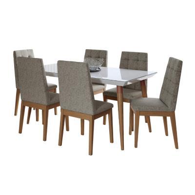 Juego de comedor 6 sillas 160x90 Blanca/Gris