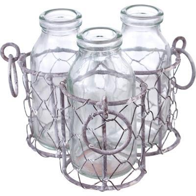 3 Botellas con base vidrio 11x15 cm transparente