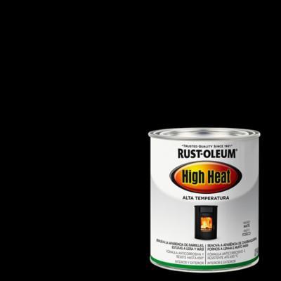 Esmalte sintético alta temperatura negro mate 1/4 galón