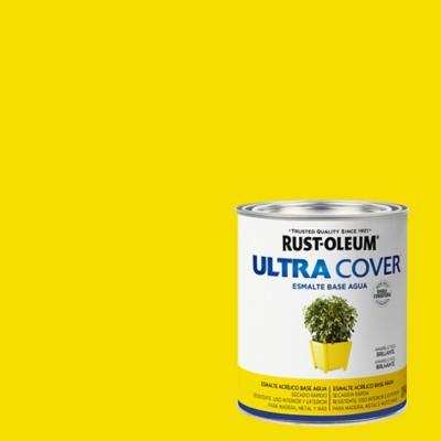 Esmalte al agua Ultra Cover amarillo sol brillante 1/4 gl