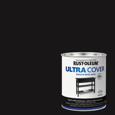 Esmalte al agua Ultra Cover negro brillante 1/4 gl
