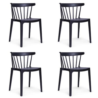 Set 4 sillas Saloon 75x53x49 cm negro