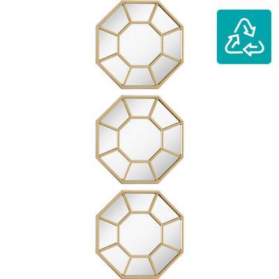 Set 3 espejos octágono dorado