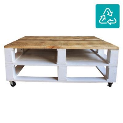 Mesa de centro donato blanca y cubierta natural