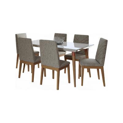 Juego de comedor extensible 6 sillas 160x90 Blanco/Gris