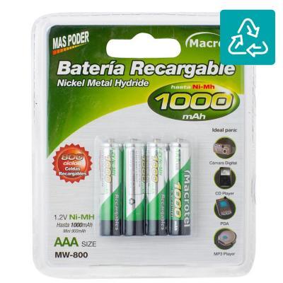 Pack de 4 pilas recargables AAA 1000 mAh 1.2V