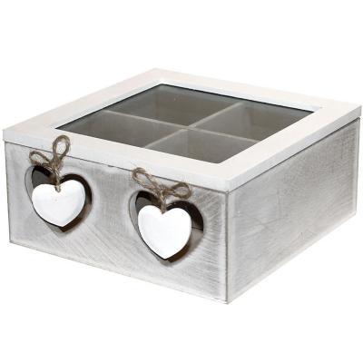 Caja de madera para te 4 divisiones