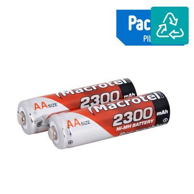 Pack de 2 pilas recargables AA 2300 mAh 1.2V