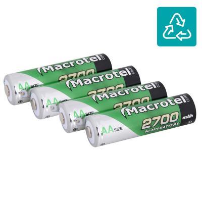 Pack de 4 pilas recargables AA 2700 mAh 1.2V