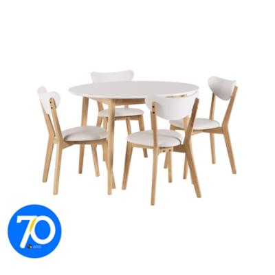 Comedor 105x105x75 cm Rubberwood 4 sillas