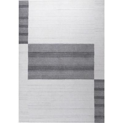 Alfombra handloom cuadros 140x200 cm crudo/gris