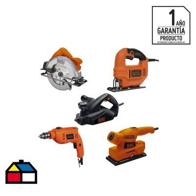 Kit eléctrico cepillo + sierra circular + lijadora + sierra caladora + taladro