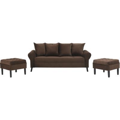 Juego de living sofá 3 cuerpos + 2 pouf