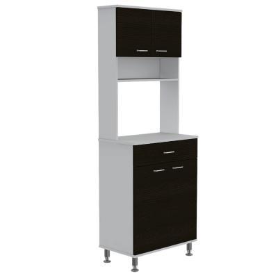 Mueble para microondas 60x35x169 cm blanco/wengue