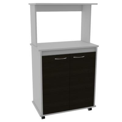 Mueble para microondas 63x36x114 cm blanco/wengue