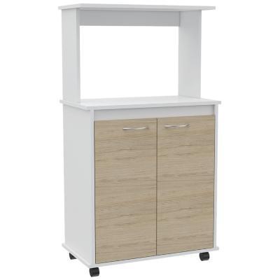 Mueble para microondas 63x36x114 cm blanco/oak