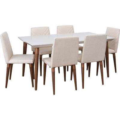 Juego de comedor 6 sillas 160x90 Blanco/Crema