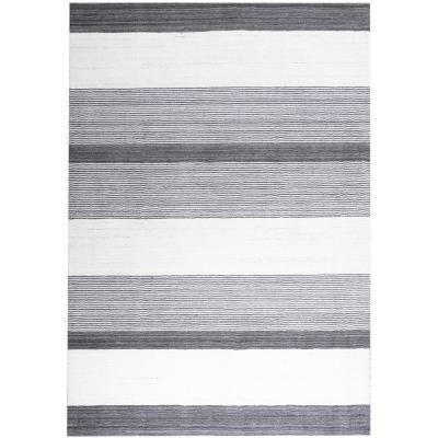 Alfombra handloom líneas 160x230 cm crudo/gris