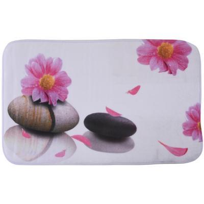 Alfombra de baño 45x75 cm impresión flores piedras