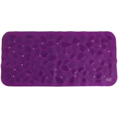 Alfombra de baño PVC 75x36 cm morada bañera piedras