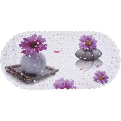 Alfombra de baño PVC 69x35 cm flores piedras