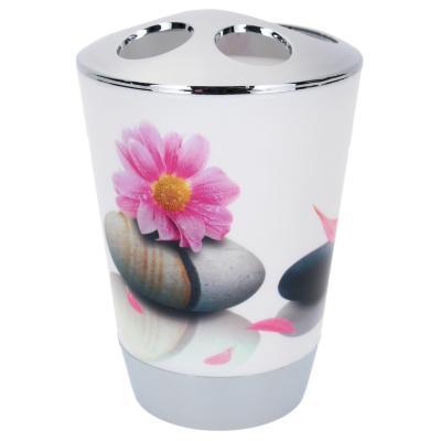 Vaso organizador de cepillo dental diseño flor y piedra