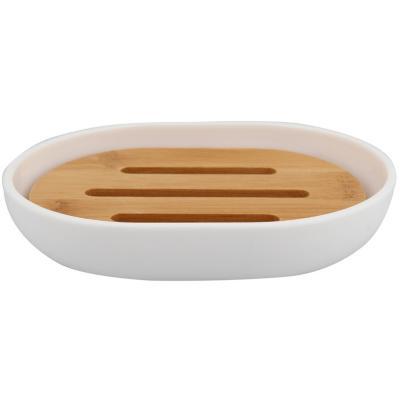 Jabonera blanca plástica con madera