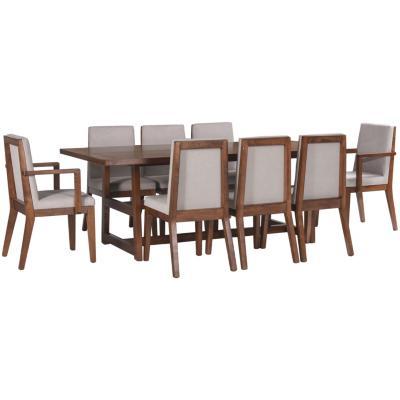 Juego de comedor 6 sillas + 2 sitiales 220x110 Café/crudo