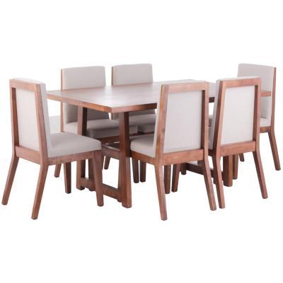 Juego de comedor 6 sillas 160x100 Beige