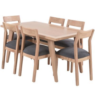 Juego de comedor 6 sillas 150x90 Café Claro/Gris