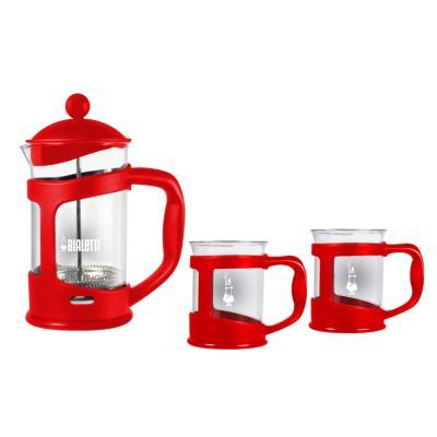 Set cafetera presión roja + 2 mugs