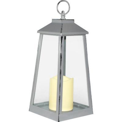 Farol con vela led 14x14x32 cm gris