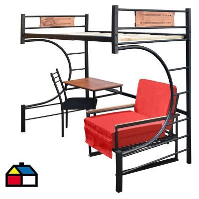 Camarote 1,5 plazas 160x115x190 cm Metal