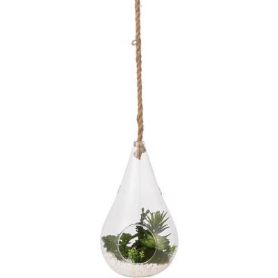 Terrario artificial colgante vidrio gota 31 cm