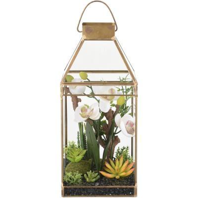 Terrario artificial vidrio dorado 31 cm
