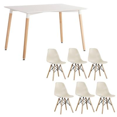 Combo Mesa Comedor + 6 sillas beige