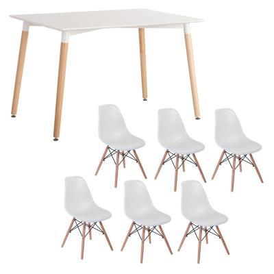 Combo Mesa Comedor + 6 sillas blanco