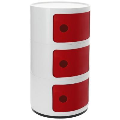Organizador bicolor 3 cuerpos 33x33x60 cm blanco puerta roja