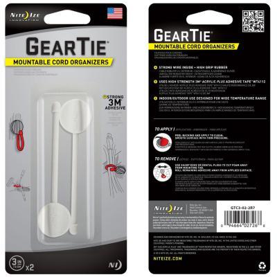 """Gear tie 3"""" blanco, con sitema 3m para organizar cables"""