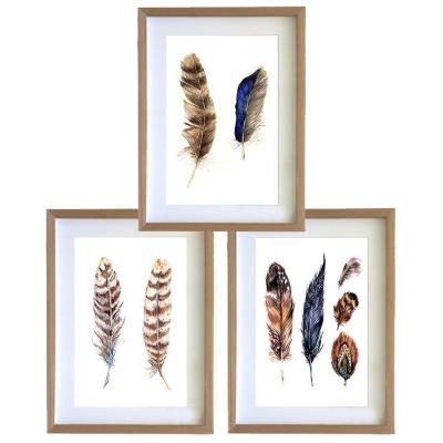Set 3 cuadros 30x40 cm marco madera plumas etnico
