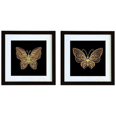Set 2 cuadros 40x40 cm marco negro mariposa