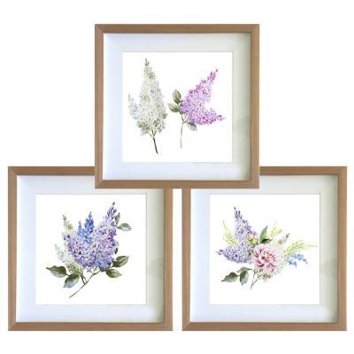 Set 3 cuadros 30x30 cm marco madera  flores