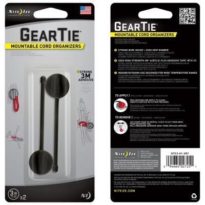 """Gear tie 3"""" negro, con sitema 3m para organizar cables"""