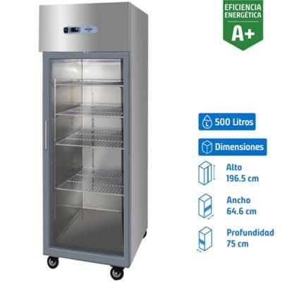 Congelador industrial 1 puerta vidrio 500 litros gris